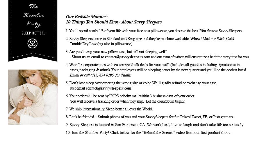 Savvy Sleepers Bedside Manner Page