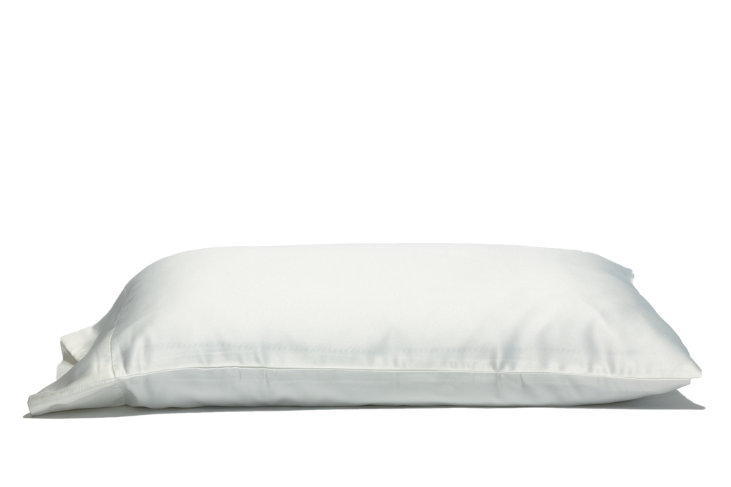 'White Russian' Luxe Satin Pillowcase. Anti-aging, machine washable, with the bonus secret pocket.