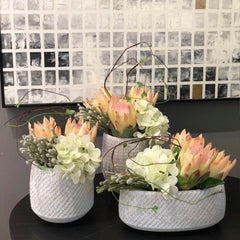 Ikebana Art - Artificial Bromeliads and Succulents with Vase