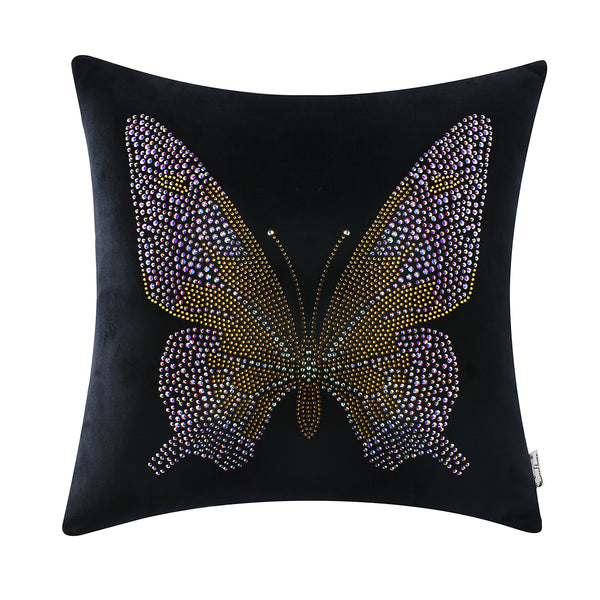 Vintage Butterfly Home Decorative Throw Pillow Decor Cushion, Black