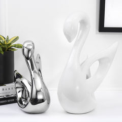Swan Porcelain Sculptures, Electroplating Polished Ceramic Decoration