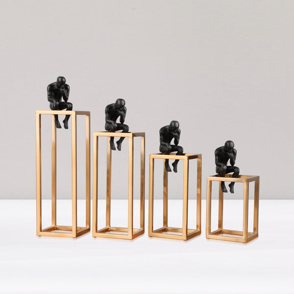 Creative Sculpture Accents - Thinker with Cuboid Frame HOME DECOR
