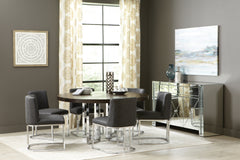 Contemporary Design Fueyes Round Dining Table Graphite And Chrome