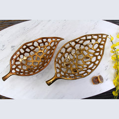 Ceramic Gold  Leaf Shape Fruit Basket