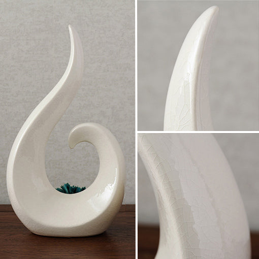 Ice Grack Glaze Ceramic Abstract Round Figure, White Sculpture with Green Flower