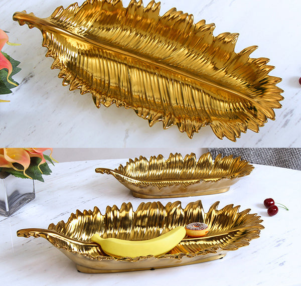 Ceramic Gold Leaf Decorative Serving Tray, Snack Dessert Plates