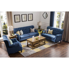 3-Pieces  Modern Style Sofa Set, Indigo Linen