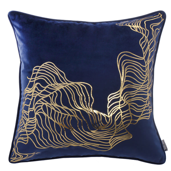 Abstract Doodle Lines Monochrome Wave Pattern Cushion