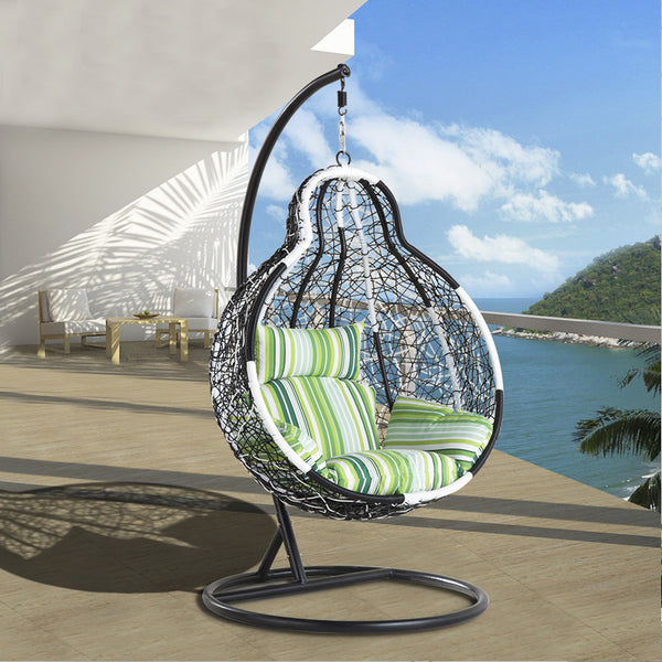 Out door /In door Rattan Wicker Gourd shape Hammock Chair with Hanging Kits, Black & White