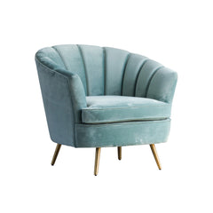 Curved Tufted Accent Chair, Velvet Upholstered Tub Chair with Gold Legs, Blue
