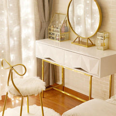 Modern Vanity Set with Mirror, Gold & White Dresser Table Set and Butterfly Chair