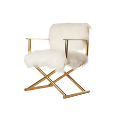 Modern lamb fur Plush Cushion Accent Chair with Gold Frame, White