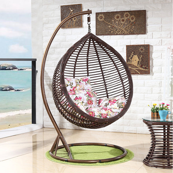 Outdoor Resin Wicker Tear Drop Hanging Egg Patio Lounge Chair, Brown