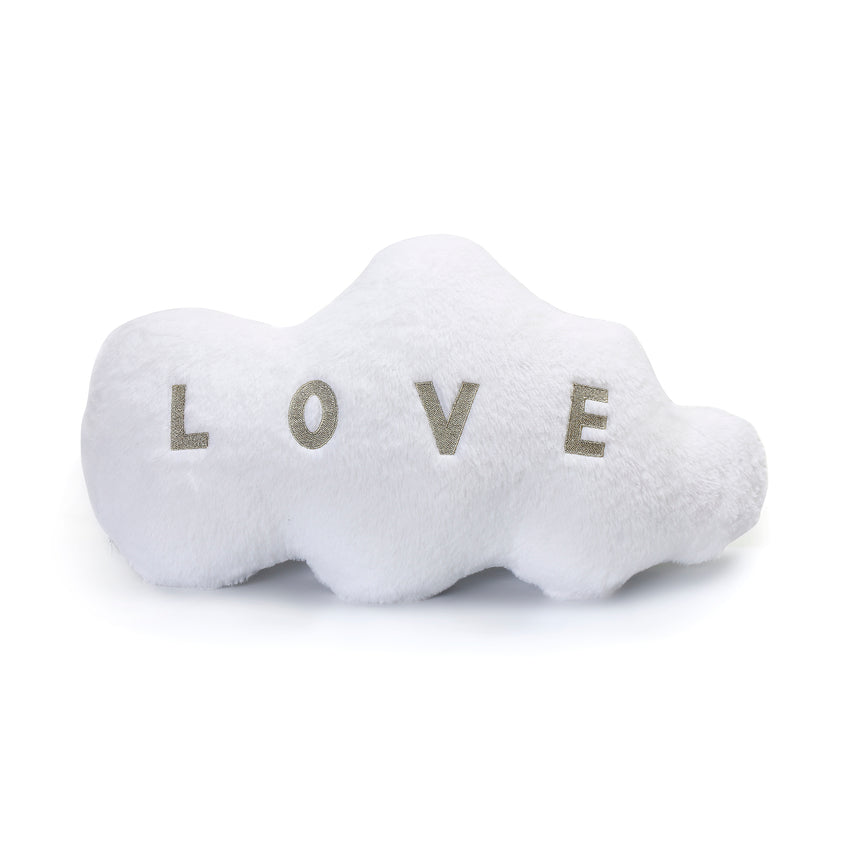Velvet Flannel Plush Cloud Shape Pillow Decor Cushion, White