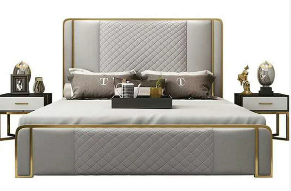 Italian style double bed with stainless steel gilt with storage