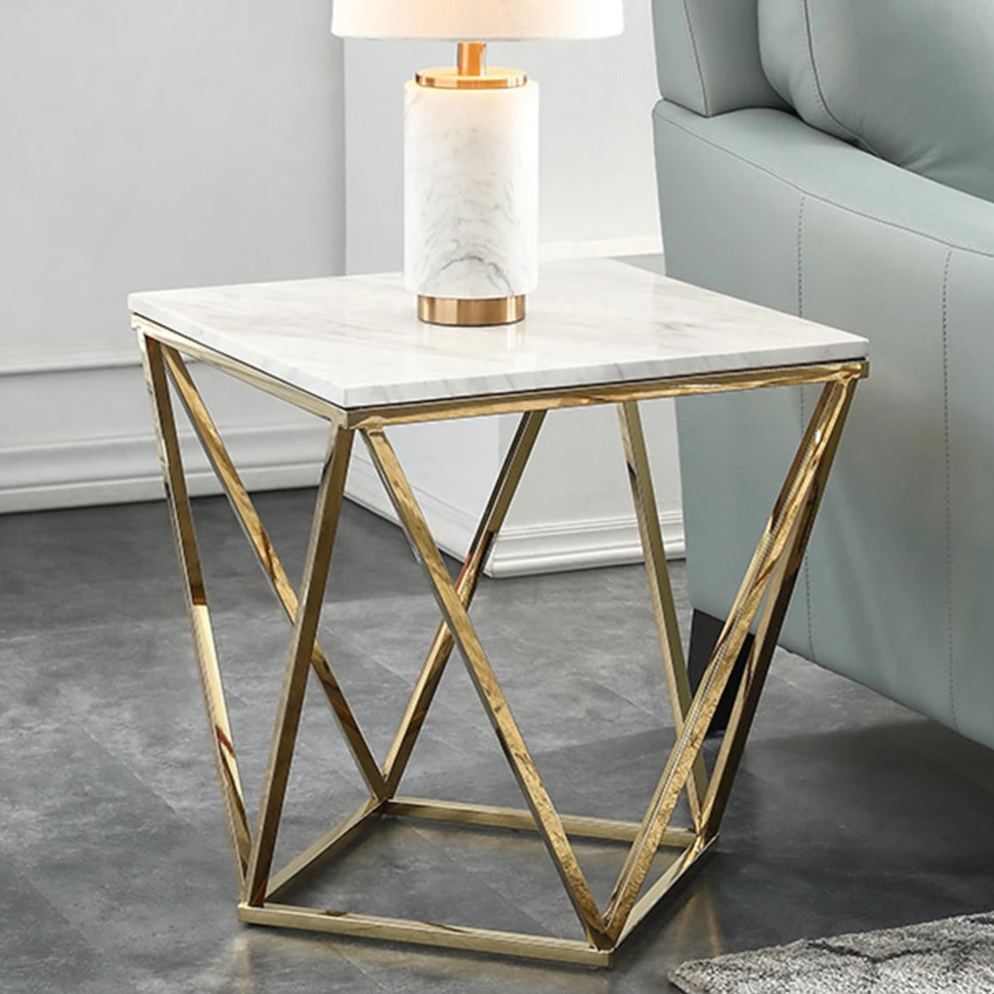Marble Square End Table, White & Gold