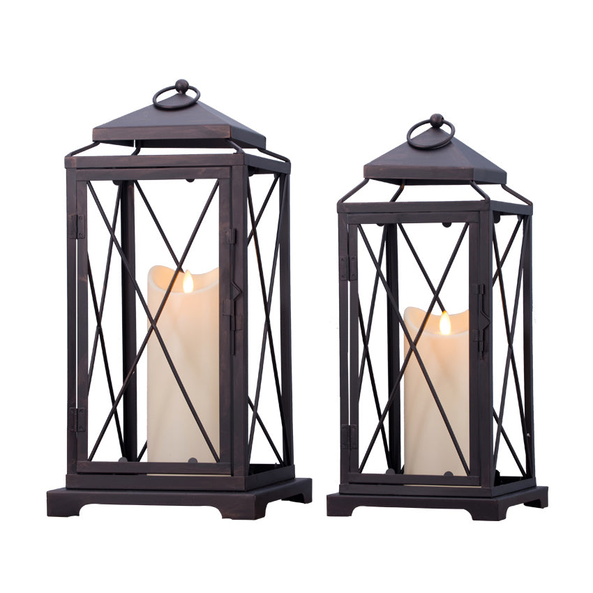 LANTERN Distressed Grey Iron and Glass Panel Circlet Candle Lamp NEW
