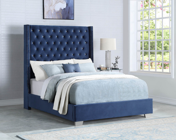 Blue / Black  Aria  Upholstered Platform  Bed