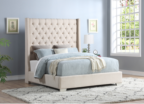 Grey Chloe Upholstered Platform Bed
