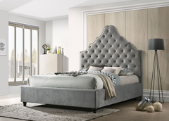 Grey  Renee Upholstered Platform Bed
