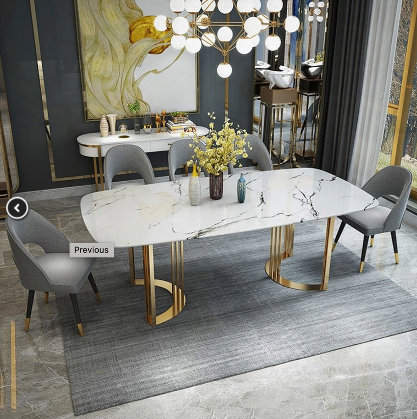 Contemporary   Marble Dining Table Gold Dining Table Rectangular Stainless Steel Dining Table 6-Seat
