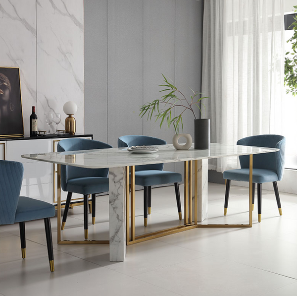 Contemporary design White Faux Marble Dining Table Rectangular Table in Brushed Gold