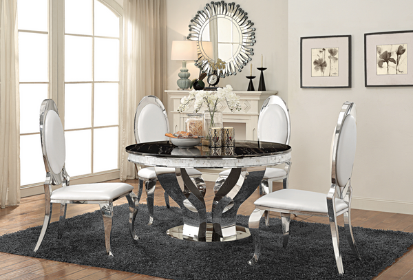 Contemporary Design  Anchorage Round Dining Table Chrome And Black 5 PIECES A SET