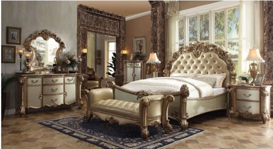 ACME Vendome King  Bed - 23000Q - Bone PU & Gold Patina