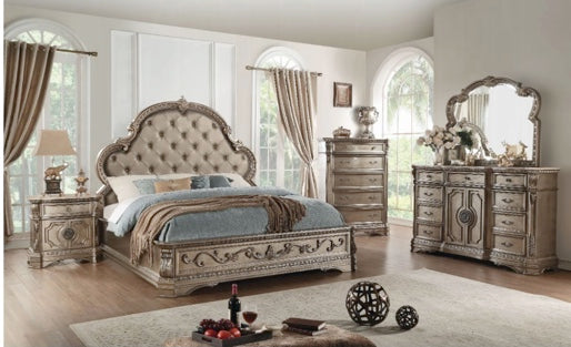 ACME Northville California King Bed - 26924CK - PU & Antique Silver
