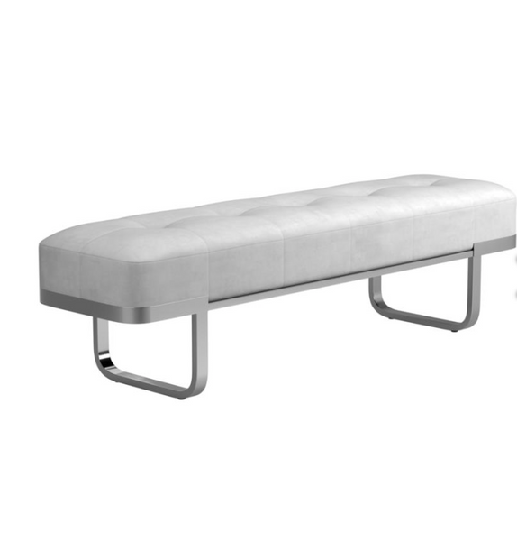 Tufted Upholstered Bench Off White+Chrome /Gold+Black
