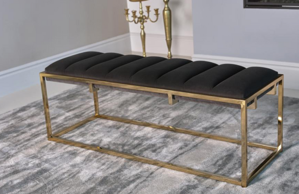 Contemporary Design Channel Tufted Cushion Bench Dark Grey And Stainless steel Gold