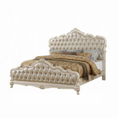 ACME Chantelle California Queen Bed - 23534CK - Rose Gold PU & Pearl White