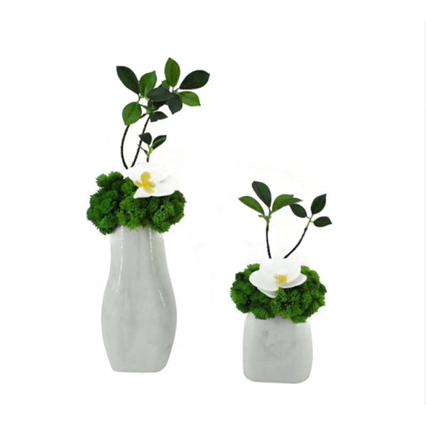 Ikebana Art - Artificial Orchid and Succulents with Vase