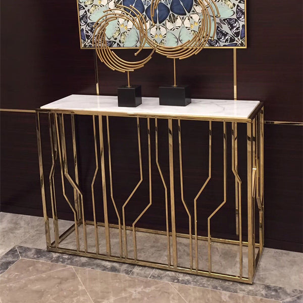 Contemporary Faux Marble Console Table, Gold Finish