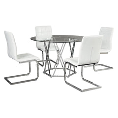 5-Piece Dining Room Set, Chrome Finish