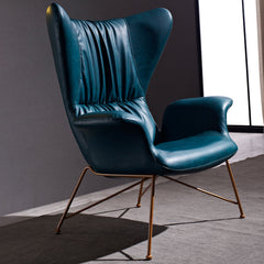 Vintage Butterfly Armchair with Gold Steel Legs, Peacock Blue