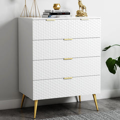 Modern 5-Drawer Side Cabinet with Honeycomb Design, Golden Pulls and Foots
