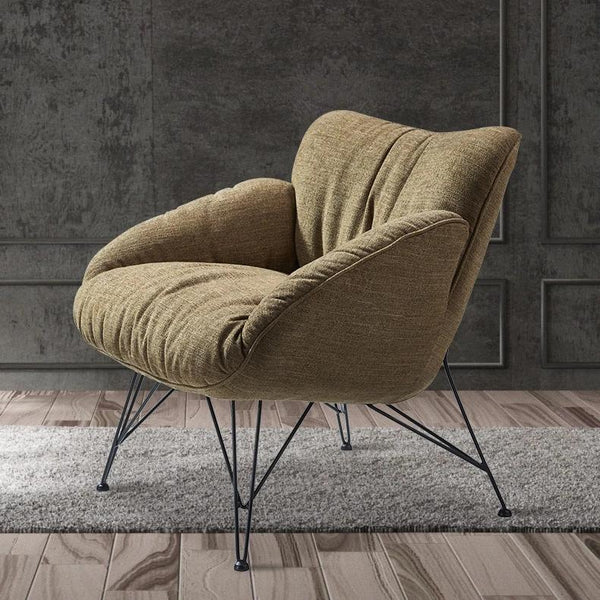 Modern Accent Chair with Metal Frame, Brown