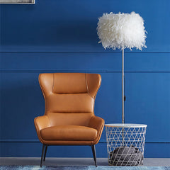 Elegant Accent Style Armchair with Steel Legs, Light Brown