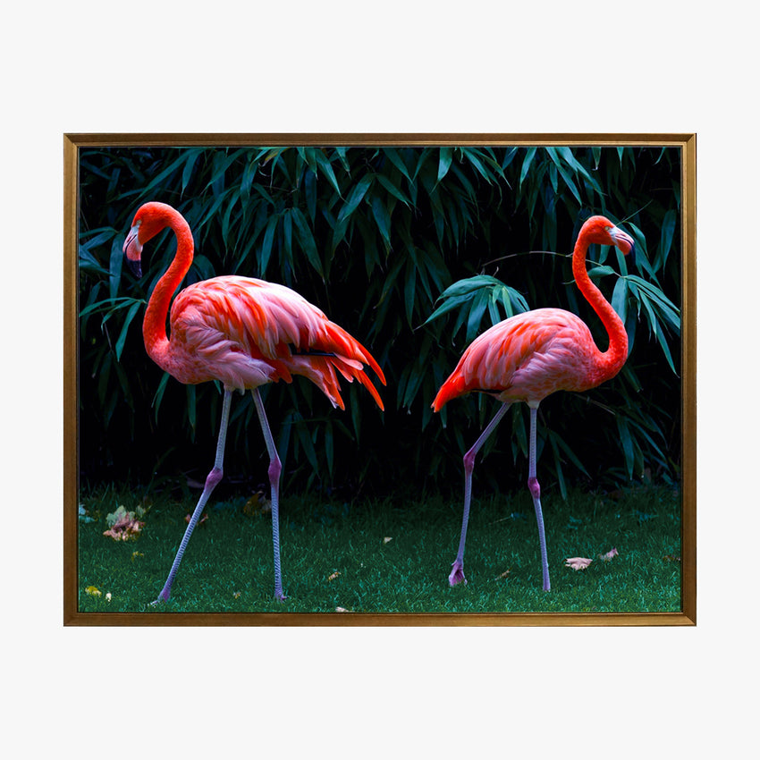 Crystal Painting - 2 Flamingos in Dark Green