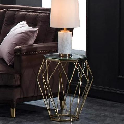 Modern Geometric End Table, Glass & Gold