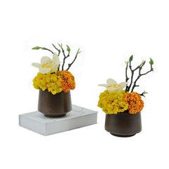 Ikebana Art - Artificial Beryy, Orchid and Succulents with Vase