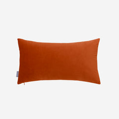 Decorative Velvet Cushion Lumbar Throw Pillow, Orange & Cream