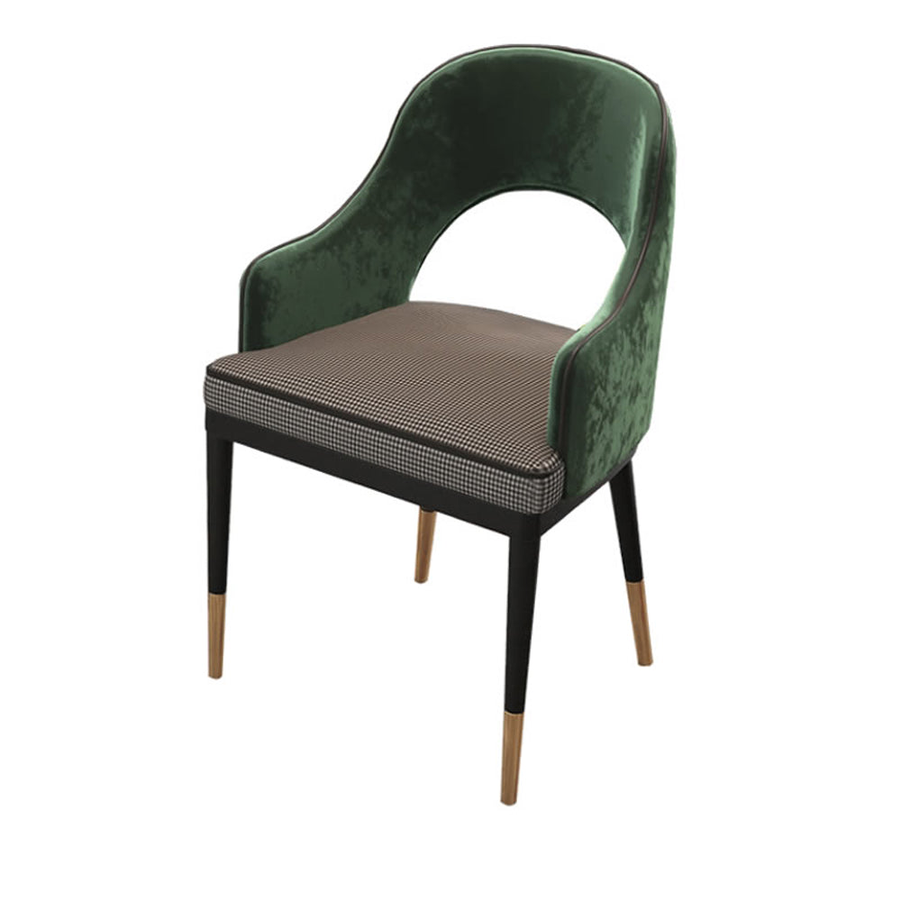 Mid-Century Modern Velvet & Fabric Upholstered Accent Arm Chai, Houndstooth & Green