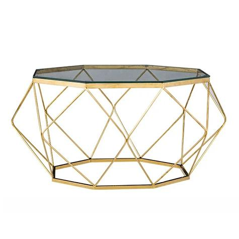 Modern Geometric Coffee Table, Glass & Gold
