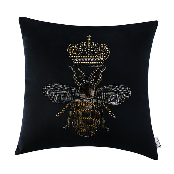 Novelty Queen Honey Bee Decorative Throw Cushion, Black