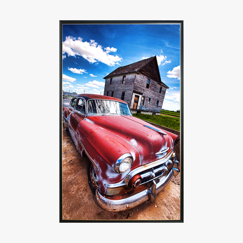 Crystal Painting - Red Car in Country Road