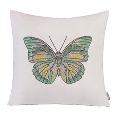 Novelty Butterfly Decorative Throw Cushion, White