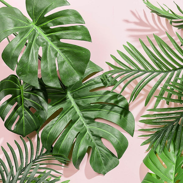 Artificial Tropical Palm Leaves Monstera Tree Plant