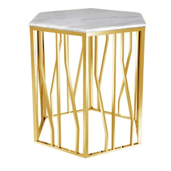 Marble Side Table - Nightstands Tables - White Marble and Brass End Table, Gold & Marble